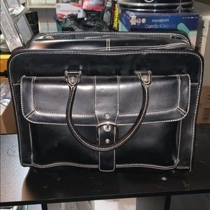 Leather laptop rolling bag